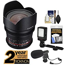 Rokinon 10mm T/3.1 Cine Wide Angle Lens with 2 Year Ext. Warranty + LED Video Light + Microphone Kit for Sony Alpha E-Mount A7, A7R, A7S, A3000, A5000, A6000, NEX-5T, 6, 7 Cameras