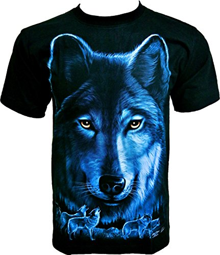 Rock Chang T-Shirt Black Wolf Lupo Nero Uomo Nero R611 (XL)