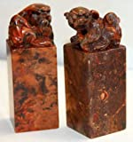 """Hand carved pair of antique chinese stone fu dog seal chops - 3.5""""H"""