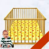 Baby's playpen on casters with playmat STAR Design, 4 Extractable bars