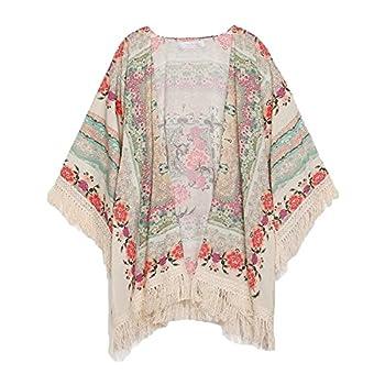 New Vintage Flower Tassels Shawl Cardigan Chiffon Kimono Cardigan Coats Jackets (XL)