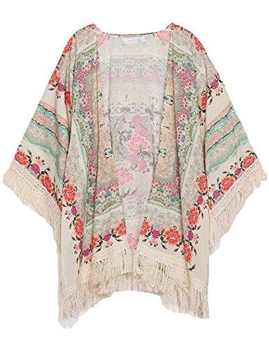 Genluna New Vintage Flower Tassels Shawl Cardigan Chiffon Kimono Cardigan Coats Jackets 66163,Floral,Medium