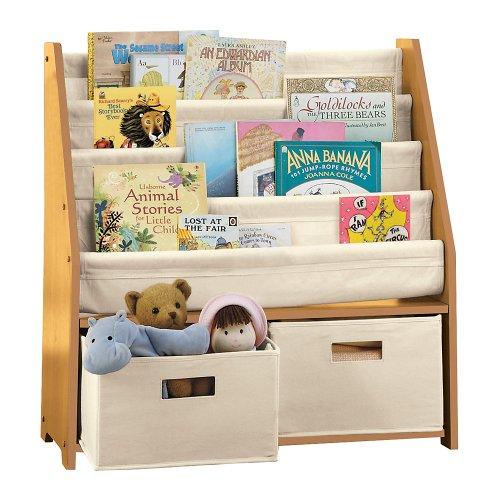 kids 39 sling bookshelf with storage bins espresso. Black Bedroom Furniture Sets. Home Design Ideas