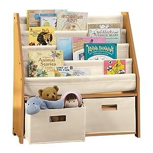 kids 39 sling bookshelf with storage bins natural toys games. Black Bedroom Furniture Sets. Home Design Ideas