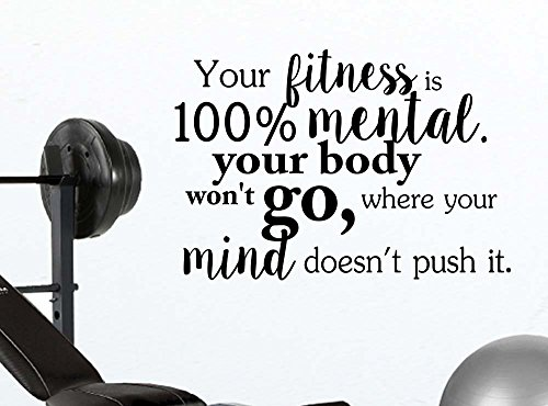 Your fitness is 100% mental your body won't go where your mind doesn't quote wall decal sticker nursery vinyl saying lettering wall art inspirational sign wall decor