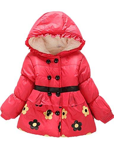 Baby Girls Kids Flower Thicken Hooddie Winter Warm Jacket Coat Outwear Snowsuit (L(1-2Y), Red)