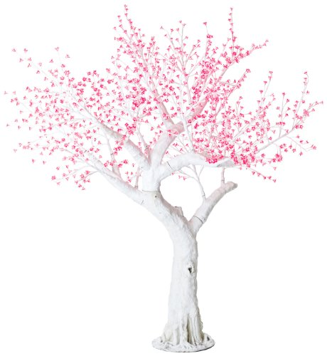 Arclite Nbl-230-4 Bonsai Cherry Blossom Tree With Leaves, 0.9M Height, With White Trunk, Red Crystals And Red Lights