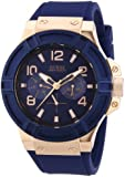 Guess W0247G3 - Reloj analógico de cuarzo para hombre, correa de silicona color azul