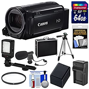 Canon Vixia HF R700 1080p HD Video Camcorder with 64GB Card + Battery & Charger + Hard Case + Tripod + LED Light + Microphone + Kit