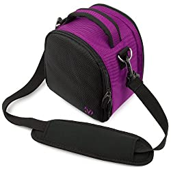 Vangoddy designed Purple with Luxury Lining Compact DSLR & SLR camera bag, Laurel Luxury Sling For all Cameras Entry Level or Professional with Unique Flip Out Main Compartment Design and Extra Pocket for camera Accessories (Camera body, Lenses, Grip, SLR Flash equipment, Camera Batteries, ect)