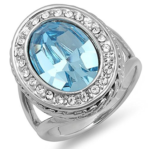 Platinum Plated With Oval Light Blue & Clear Swarovski Crystals Engagement Ladies Ring (21.5 Mm Width)Szie 8