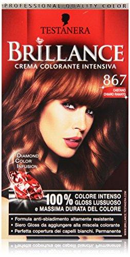 Testanera - Brillance, Crema Colorante Intensiva, 867 castano Chiaro Ramato - 1 confezione