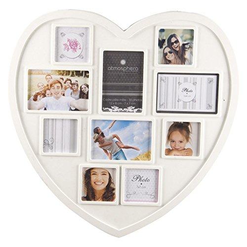 cadre photo p le m le mural forme c ur coloris blanc capacit 10 photos. Black Bedroom Furniture Sets. Home Design Ideas