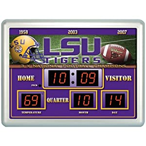Louisiana Sate (LSU) Tigers 14 x 19 LED Scoreboard Clock and Thermometer by Team Sports America