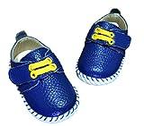 キッズ レザー シューズ 子供 靴 マジックテープ 式 ベビー シューズ (13cm, 青色)
