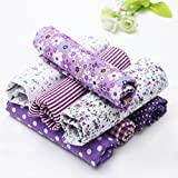 KINGSO 7PCS Cotton Fabric Bundles Quilting Sewing DIY Craft 19.7x19.7inch Purple