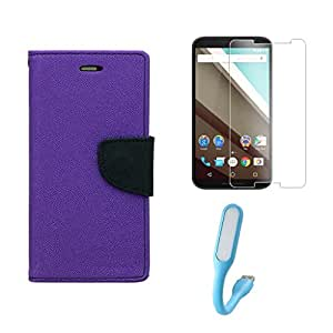 Samsung Galaxy Grand 2 GT7106 Combo Pack Of Flip Cover By Online Street (Purple + Tempered Glass + USB Light)