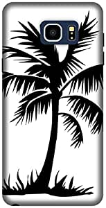 The Racoon Grip printed designer hard back mobile phone case cover for Samsung Galaxy Note 5. (Palm Trees)