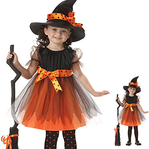Follow518 Children Halloween Witch Skirt Suit Cosplay Costumes with Hat Girls Cosplay Dance Clothes (3-12 Years)