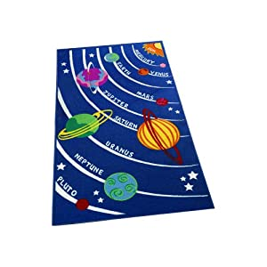 Childrens Navy Blue Planets Learning Rugs Space Stars Kids Bedroom Rug from Flair Rugs