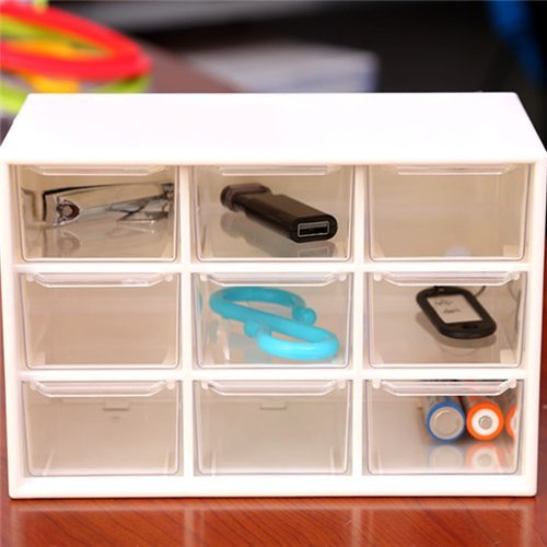 Chris-Wang Removeable Mini Acrylic 9 Drawer Desktop Storage Organizer/Collection Caddy/Small Belongings Holder/Art Craft Sorter, 18*10*12cm, White (Removable Acrylic Drawers compare prices)