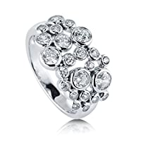 BERRICLE Sterling Silver Cubic Zirconia CZ Bubble Womens Fashion Right Hand Cocktail Statement Ring by BERRICLE