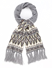 M&S Collection Metallic Effect Fair Isle Knitted Scarf with Wool