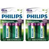 4 x Philips D Size 3000 mAh Rechargeable Ni-MH Batteries HR20, LR20