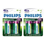 4 x Philips D Size 3000 mAh Rechargea...