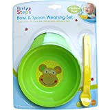 Baby Bowl Spoon Weaning Set Green