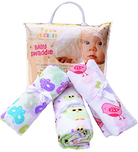 3 Baby Swaddle For Deep & Long Sleep. Large Muslin Cotton Blankets For Receiving & Nursing. Cute Colors For Girls. (Thermal Receiving Blanket Purple compare prices)