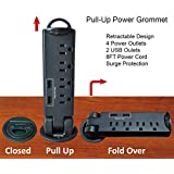 Desktop Pull-Up PowerTap Grommet with Surge Protector
