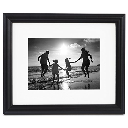 8x10 Black Picture Frame - Matted to Display Photographs 5x7 or 8x10 Without Mat - Highest Quality Materials - Display on Wall or Table Top - Imported from Europe (8x10 Black Picture Frame compare prices)