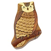 Owl Handmade Carved Wood Intarsia Puzzle Box