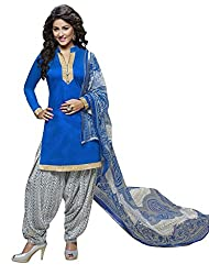 Fashions World Fancy Blue Cotton Dress Material
