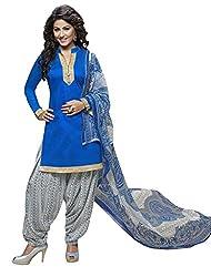Fashions World Fancy Blue Cotton Dress Material