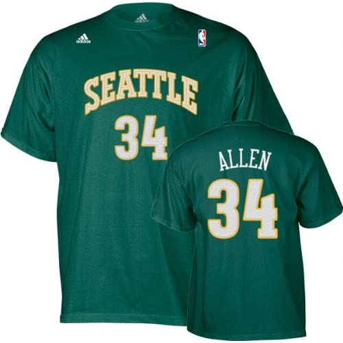 Amazon.com : Ray Allen adidas Name and Number Seattle Sonics T-Shirt