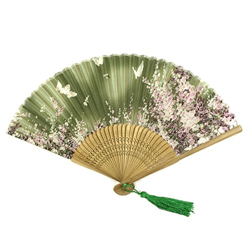 Wrapables Silk Handheld Folding Fan with Tassel and Protective Sleeve, Floating Butterflies Green