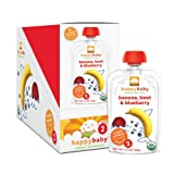 Happy Baby Organic Baby Food 2 Simple Combos, Banana, Beet and Blueberry, 3.5-Ounce Pouches (Pack of 16) ~ HAPPYBABY