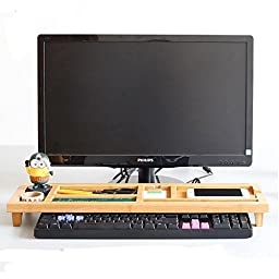 SOGAR Natural Creative Multifunction Desktop Organizer Wooden Stand Keyboard Storage Rack Shelf with 6 Compartments for Home/Office