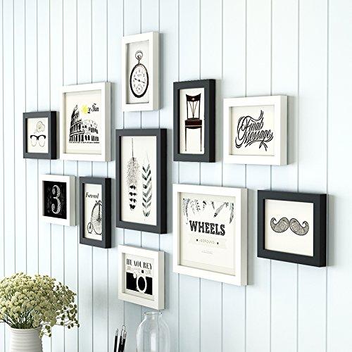 Foto HJKY conjunto de marcos de madera maciza, sencillo y moderno de pared imagen creativa, utilizado para el comedor, dormitorio, escalera, Decoración de pared,Mashup en blanco y negro B