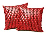 Red Leather Bricks Cushion Covers 50x50 Cms (Set of 2)