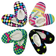 4pk Women's Warm & Cozy Feet Fuzzy Slippers Non-Slip Lined Socks Booties Indoor