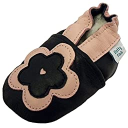 Dotty Fish Baby Girls Soft Leather Shoe with Suede Soles Navy Pink Flower 0-6 Months to 2-3 Years