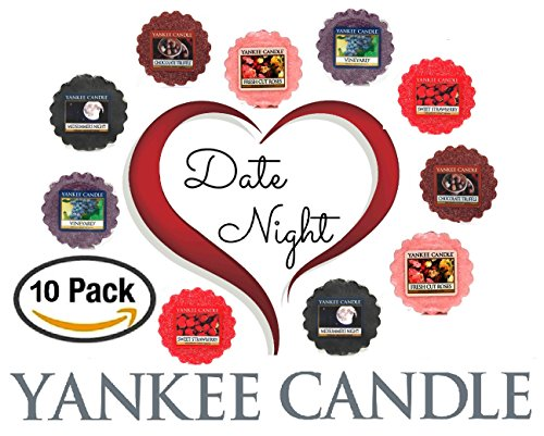 Yankee Candle Date Night Wax Tarts - Midsummer's Night + Fresh Cut Roses + Vineyard + Chocolate Truffle + Sweet Strawberry -- Set of 10 Yankee Candle Romantic Wax Melts