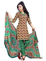 Look N Buy Royal Brown & Green Coloured Printed Dress Material