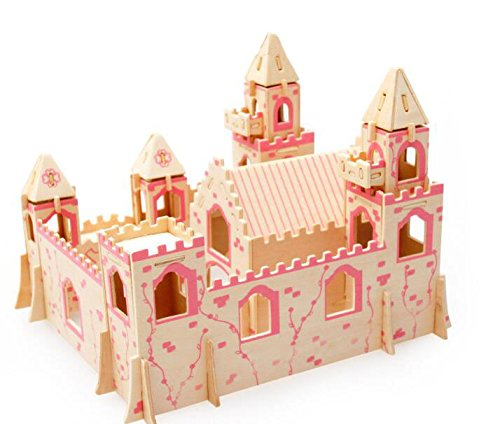 3D Wooden Puzzle Princess Castle Buliding Blocks DIY Educational Toy for Kids Children