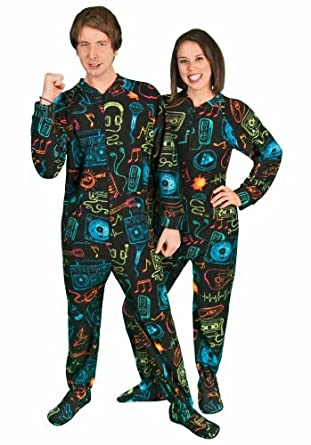 "PajamaCity 80s Pop Music Print Black Polar Fleece Butt Flap One Piece Pajamas for Teens and Adults Size 4 (5'4"" to 5'5"")"