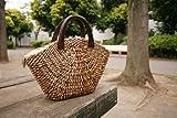 【かごバック】 チャック付き/ブッサバー/ストローバッグ/ウッドハンドル/ハンドバッグ/カゴバック/Bussaba Straw bag wood handle (ナチュラルミック)