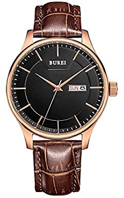 BUREI® Men's BM-13001-P05ER Day and Date Brown Calfskin Leather Watch with Black Dial